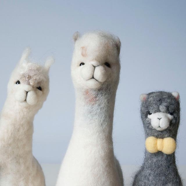 Needle felted baby alpacas