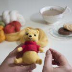 Winnie the Pooh at Spring farm alpacas needle felting