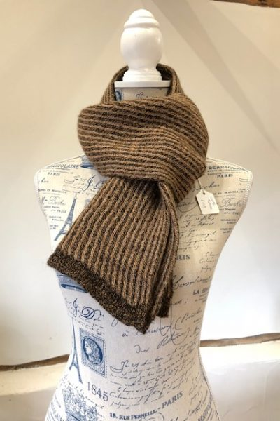 Double knit dark brown/fawn striped scarf