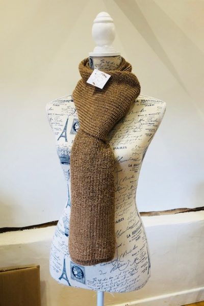 Double knit light fawn/dark fawn scarf