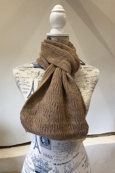 2 ply fawn scarf - square pattern wide scarf