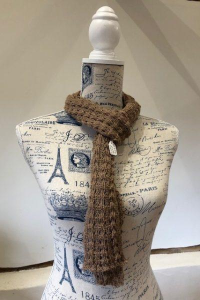 Lacy 2 ply dark fawn scarf