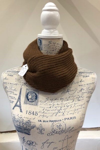 Double knit brown Huacaya cowl