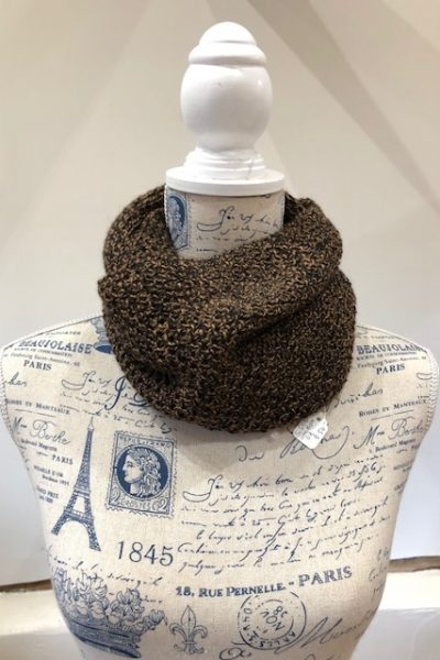 Double knit Black/Brown huacaya cowl