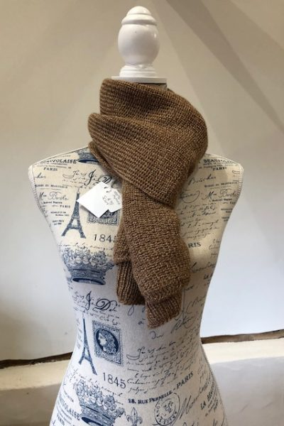2 ply light fawn/dark fawn scarf