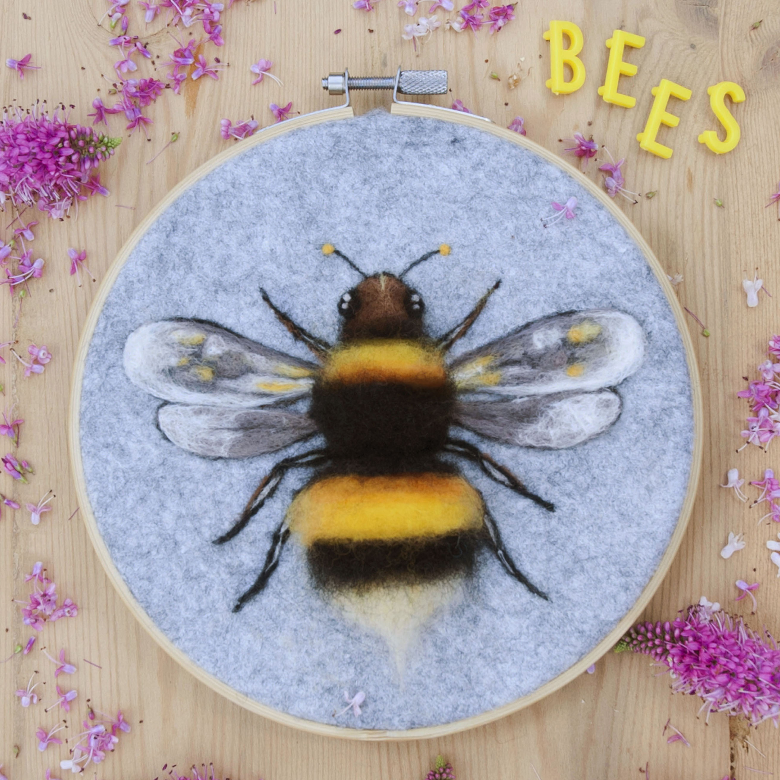 Needle felted bumble bee workshop