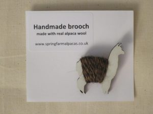 Handmade white/brown alpaca brooch
