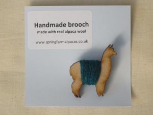 Handmade alpaca wooden brooch in turquoise