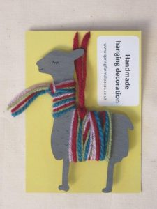 Multi coloured alpaca hanging decoration