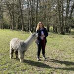 Josie with Dermot the alpaca